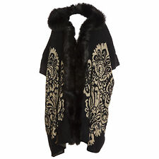 Plus Size Lana Wool Abstract  Black & Beige Fur Trim Hooded Waistcoat/Wrap/Coat