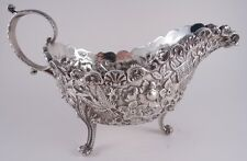 KIRK STERLING REPOUSSE GRAVY SAUCE BOAT TOBACCO LEAVES BASKETS UNIQUE