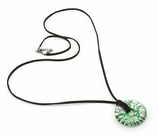 Zest Patterned Glass Pendant on Cord Green Length 98cm