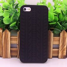 Black Rubber Tyre Tread Soft Silicone Skin Case Cover For Apple iPhone 5 5S SE