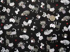 I gatti gattile Tessuto Fat Quarter 50x56 cm NUTEX 89350-1 100% COTONE