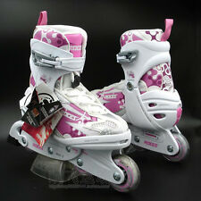 Roces Flash 5.0 Girls/Kids Inline Roller Skates Adjustable Pink/White US J13-3