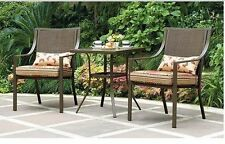 3-Piece Outdoor Bistro Set Square Patio Chair Table Furniture Garden Seat Yard
