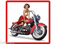 Sexy Pinup Motorcycle Girl In Red Refrigerator  / Tool Box Magnet Man Cave #1