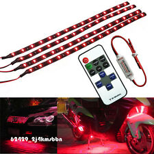 """4x 12"""" 30CM Motorcycle 15 LED Light Strip Flexible Red + Wireless Remote For BMW"""