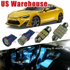 4-pc Aqua Blue LED Lights Interior Package Dome Kit  for Scion FRS 2013-2016