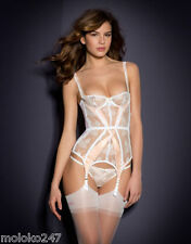 AGENT PROVOCATEUR WHITE & PINK MADDY CORSET BASQUE SIZE 34C BNWT