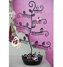 ELEGANT BLACK EARRING JEWELLERY DISPLAY HOLDER TREE STAND  METAL NECKLACE RINGS