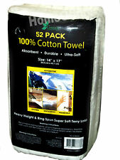 Pack 52 100% Cotton Soft Terry Loop Towelling Cleaning / Polishing Cloths 14x17""