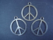 3 large Tibetan silver Peace Sign pendants /charms