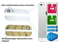 Premium 2-in1 Ersatz Glas Set (Oben / Unten) für iPhone 5 5G Backcover - WEIß