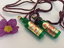 Whiskey Bottle Pendant charm Resin C'1970 x2 Taiwan Rare Party Favour Gift