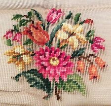 Vtg BUCILLA Preworked 20x20 Floral Needlepoint Unfinished for Pillow