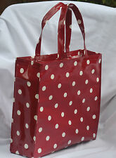 Quality handmade 100% Cotton Oilcloth shopping/holiday tote Bag - Red Spot
