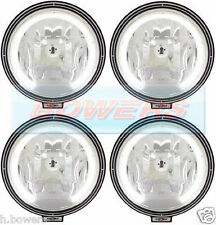 "4 x SIM 3227 12V/24V 9"" ROUND SPOTLIGHTS SPOTLAMPS + LED ANGEL EYE SIDELIGHTS"