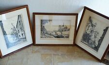 Set of 3 Charles Nollet Etching Prints ~ Paris ~ Artist Signed ~ Framed w/ Glass