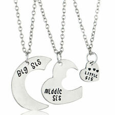 3PC Big Middle Little Sis Sister Heart Pendant Necklace Silver Chain Charm Gift