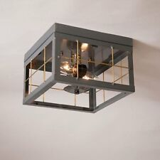 Irvin's Tinware Double Ceiling Light With Brass Bars - Primitive Lighting - New!