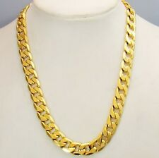 18k Yellow Gold Filled Mens Necklace 24inch Link 10MM Chain GF Charms Jewelry