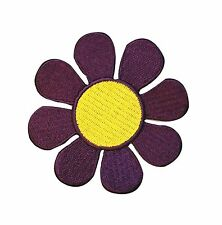 3 INCH Hippie Daisy Purple and Yellow Flower Embroidered Iron On Applique Patch