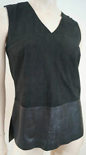 VINCE Black Suede V Neck & Leather Hemline Sleveless Tank Vest Top Sz:4 UK8 BNWT