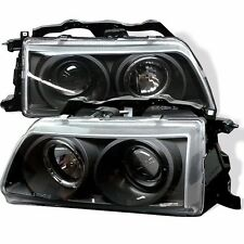 1990-1991 Honda CRX Black Projector Halo Angel Eye Headlights Pair RH LH