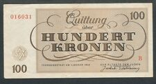 WW2 Theresienstadt Concentration Camp Ghetto Scrip 1943 100 Kronen Note