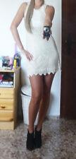 Urlaub Kleid Steine Beige Creme Weiß Perlen Spitze S-M 36-38 Kurz Liniert Blume