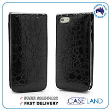 BLACK CROCODILE TEXTURE FLIP CASE COVER CARD POCKET FOR IPHONE 5 / IPHONE 5S SE