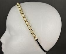 Faux pearl chain link headband Gold stretch elastic thin skinny hair band