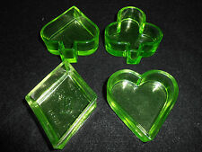 Green Vaseline glass uranium Poker set salt dip ashtray diamond heart club spade