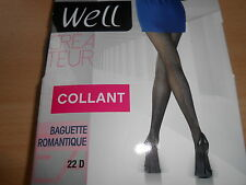 collant fantaisie 22 deniers WELL CREATEUR gris sombre taille 3/4 - neuf