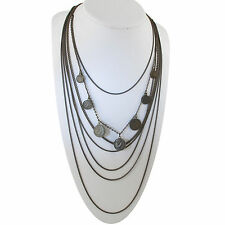 Brass Tone Multistrand Chain Coin Necklace