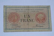 BILLET 1 FRANC CHAMBRE DE COMMERCE D'ANNECY 1916