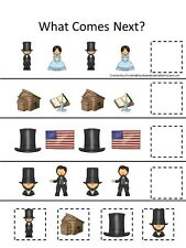 Abraham Lincoln themed What Comes Next laminated game. 1 board, 4 pieces.