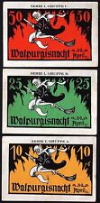 "KAHLA 1921 ""Walpurgisnacht"" Witch on Broomstick! Halloween Notgeld Germany rare!"