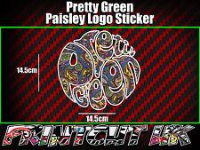Pretty Green Paisley Logo Sticker x1, Vespa, Scooter, Lambretta, Mod, Scomadi