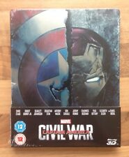 "MARVELS CAPTAIN AMERICA ""CIVIL WAR"" ZAVVI STEELBOOK 2D & 3D BLU-RAY NEW & SEALED"