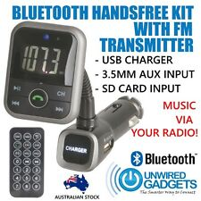 NEW WIRELESS BLUETOOTH HANDS FREE KIT FM TRANSMITTER 2.1A USB CHARGER REMOTE
