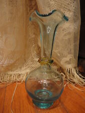 Blue Art Glass Vase with applied Amber Ring Ruffled Rim 7 in tall Vintage