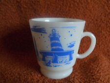 Vintage Hazel Atlas Blue Rocket Ship Space Station Kiddie Cup Child Mug-MINT!