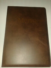 A5 MENU COVER/FOLDER IN BROWN LEATHER LOOK PVC-with pockets on page 2 + 3 ONLY!