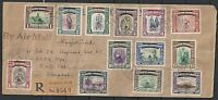 North Borneo 1949 SG 335-347 R-cover Jesselton to Singapore