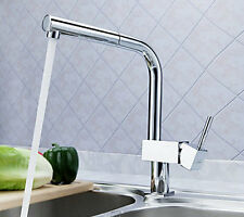 Kitchen Polished Chrome Pull Out Faucet Sink with Swivel Spout Mixer Tap
