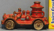 """AUTHENTIC OLD CAST IRON TINY FIRE PUMPER TRUCK 3 1/2"""" ALL ORIG & ON SALE * T228"""
