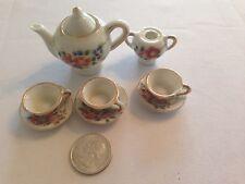 Vintage Dollhouse Miniature Japan Porcelain Tea Set Teapot, 3 Teacups & Saucers