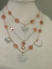 BETSEY JOHNSON NECKLACE ENDLESS SUMMER HEARTS & KEY A.B. CRYSTALS, WHITE METAL(3