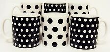 Black Dots and Spots Mugs Set of 6 Porcelain Black Mugs Hand Decorated in the UK