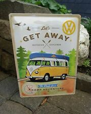 VW Volkswagen Bus Camper Samba - Camp Adventure LARGE WALL SIGN Made in Germany