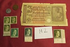 "WW2 German Third Reich ""Hitler Stamps"" & Nazi banknote & Coins..(lot H2)"